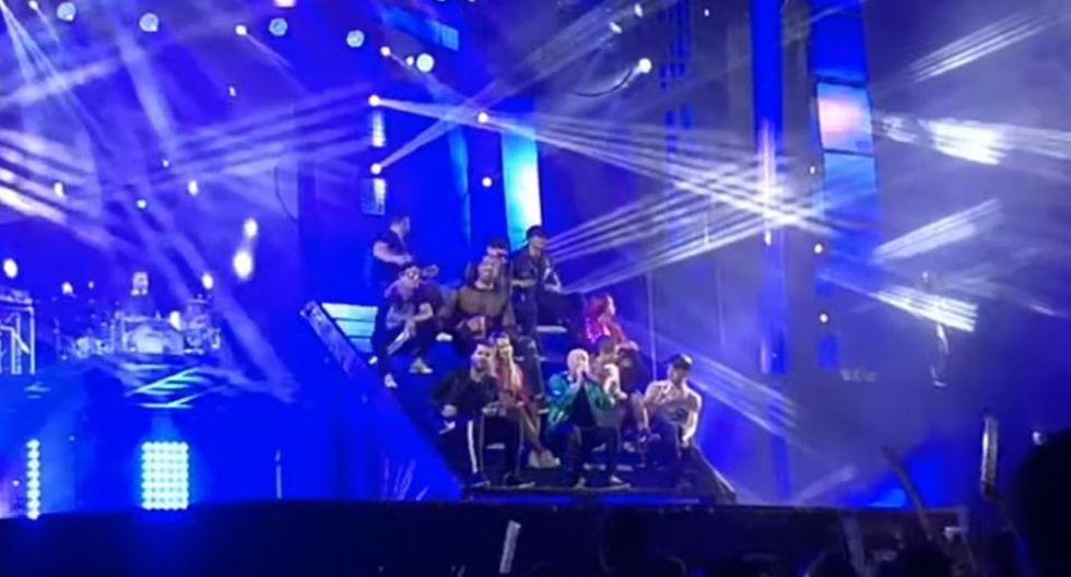 Gran susto se llevaron los integrantes de una orquesta española cuando una de sus acróbatas sufrió una caída desde más de 5 metros de altura en pleno concierto   Foto: Captura YouTube / El Progreso de Lugo