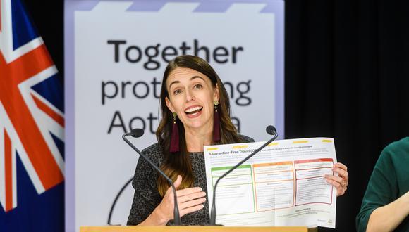 Jacinda Ardern, la primera ministra de Nueva Zelanda, muestra los planes de corredor seguro entre su país y Australia. Foto: Bloomberg
