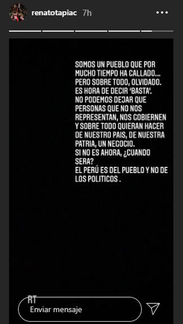 El mensaje de Renato Tapia.