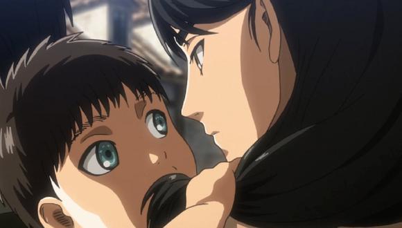 """El panel final del manga de """"Attack on Titan"""" es similar a la imagen de Eren en los brazos de su madre (Foto: Mappa)"""