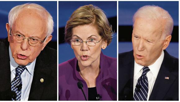 Bernie sanders, Elizabeth Warren y Joe Biden son los favoritos para conseguir la nominación presidencial del Partido Demócrata. Sanders es quien llega con mejores opciones para ganar mañana en el estado de Iowa. (Fotos: AFP / AFP / Reuters)