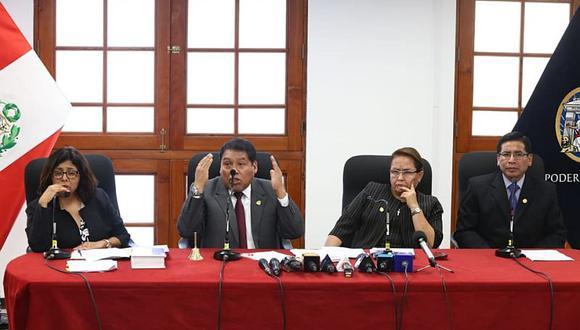 César Sahuanay, Jéssica León e Iván Quispe defendieron la resolución a favor de la recusación contra Richard Concepción Carhuancho. (Foto: Alessandro CurrarinO)
