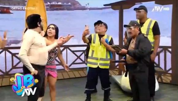 Elenco de Jorge Benavides hizo parodia sobre la intervención policial de Mario Irivarren y Vania Bludau. (Foto: Captura ATV)