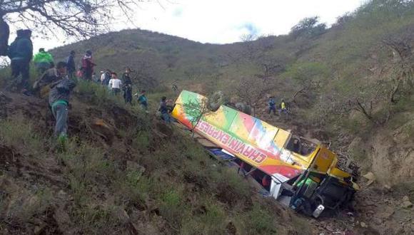 El más reciente ocurrió hoy a las 6:00 a.m, en el distrito de Llumpa, provincia de Mariscal Luzuriaga. El descarrilamiento de un bus de la empresa de transportes Chavín Express dejó al menos 13 heridos (Foto: Municipalidad de Mariscal Luzuriaga)