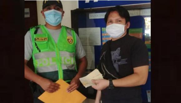 El suboficial PNP Rosario Castro buscó al propietario de los cheques y se los devolvió. (Foto: Cortesía).