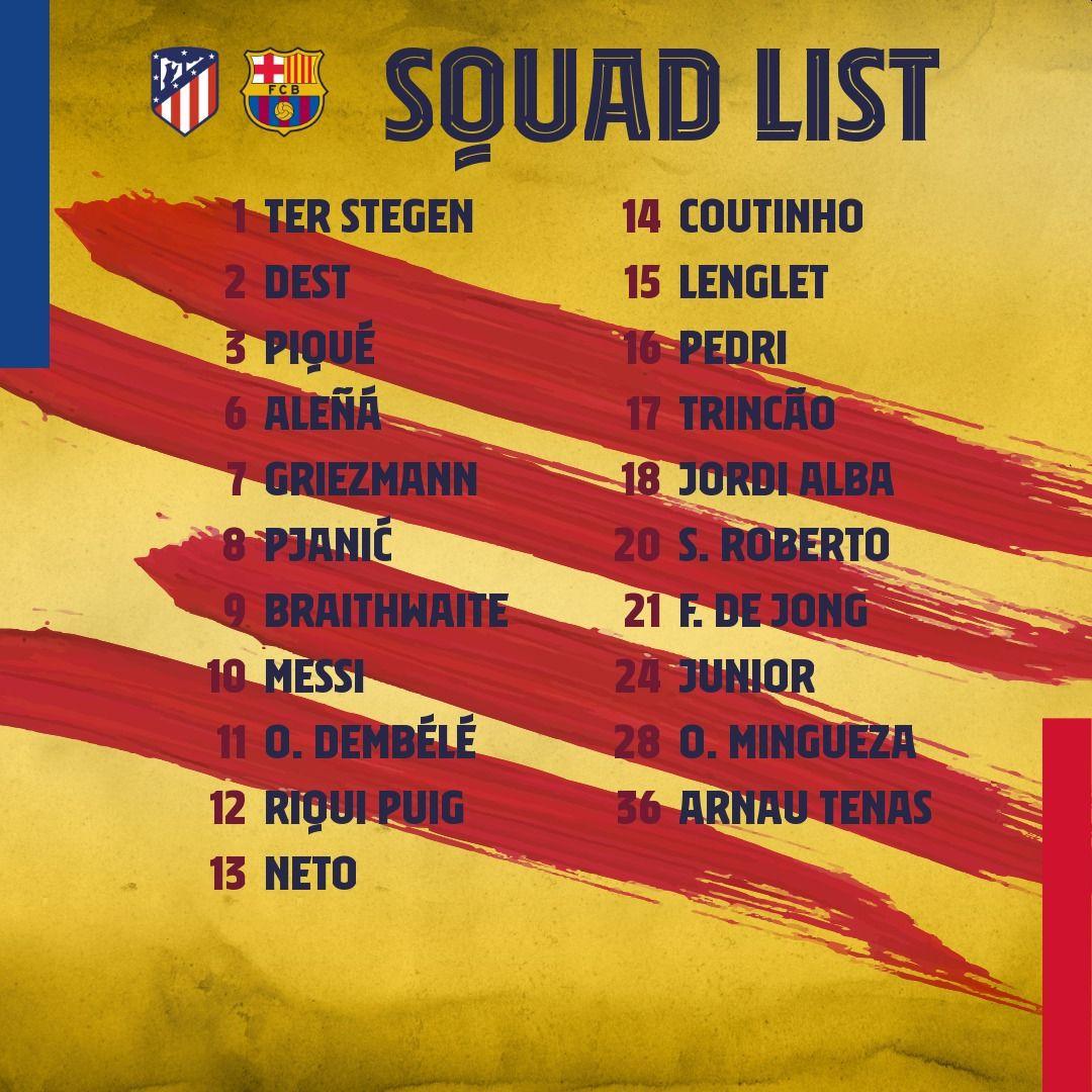 Lista de convocados del Barcelona para el choque ante Atlético de Madrid. (Foto: FC Barcelona)