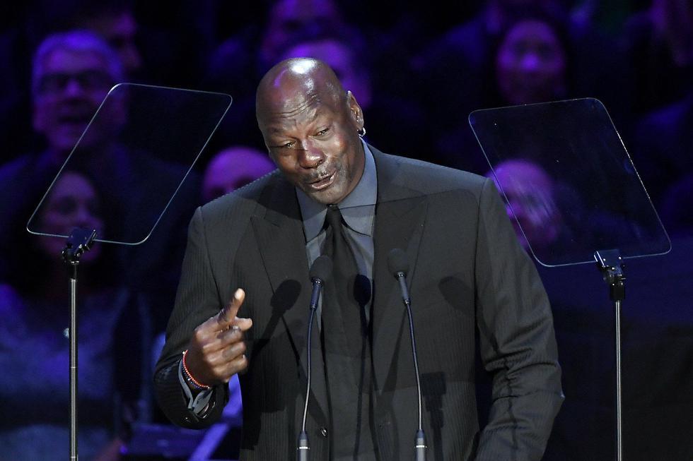 LOS ANGELES, CALIFORNIA - FEBRUARY 24: Michael Jordan speaks during The Celebration of Life for Kobe & Gianna Bryant at Staples Center on February 24, 2020 in Los Angeles, California.   Kevork Djansezian/Getty Images/AFP