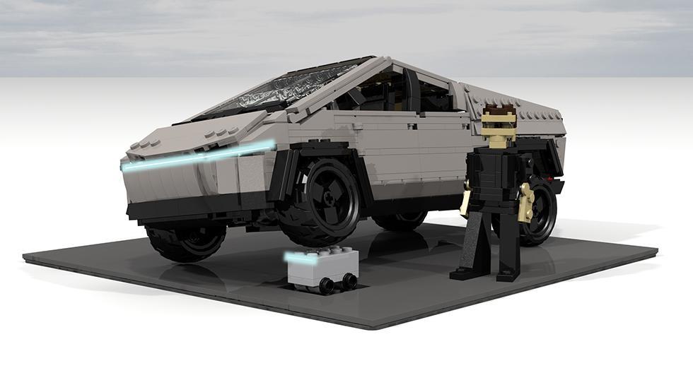 Tesla Cybertruck pisando la ficha con que Lego se burló del nuevo modelo de Elon Musk. (Foto: Flickr / Peter Blackert)