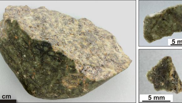 Fragmento del meteorito lunar Oued Awlitis 001. (Imagen: NHM VIENA/LUDOVIC FERRIERE)
