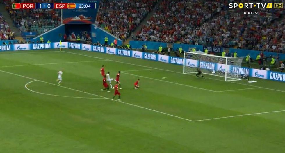 España vs. Portugal: Diego Costa marcó el empate 1-1 con gran gol en el Mundial Rusia 2018. (Foto: Captura de video)