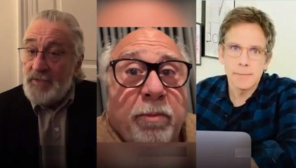 """Robert De Niro, Danny DeVito y Ben Stiller piden a sus seguidores: """"Quédense en casa, por favor"""". (Foto: Captura de video)"""