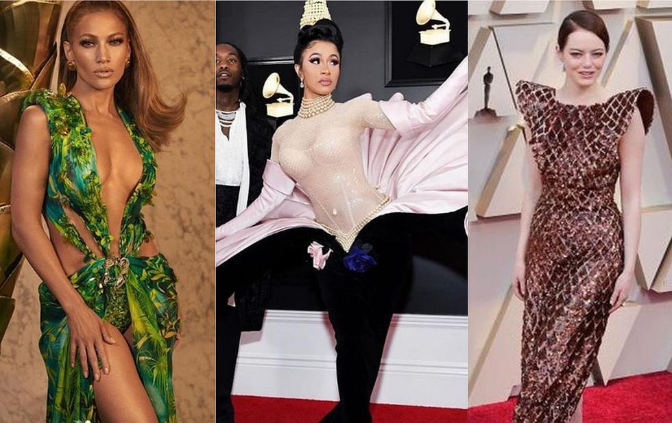 Jennifer Lopez, Emma Stone y Cardi B son algunas de las famosas que sorprendieron y marcaron tendencia este 2019 con sus icónicos vestidos. (Foto: AFP/ Instagram)