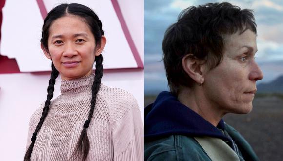 """De izquierda a derecha, Chloe Zhao y Frances McDormand, directora y protagonista de """"Nomadland"""". Ambas ganaron el Oscar en calidad de productoras de la cinta. Foto: AFP/ Fox Searchlight."""