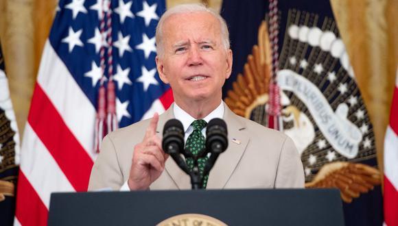 El presidente de Estados Unidos, Joe Biden, habla en la Casa Blanca en Washington, DC, el 6 de agosto de 2021. (SAUL LOEB / AFP).