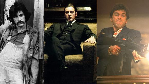 """Al Pacino en """"Serpico"""", """"El Padrino"""" y """"Caracortada"""", tres de las actuaciones de la estrella estadounidense."""