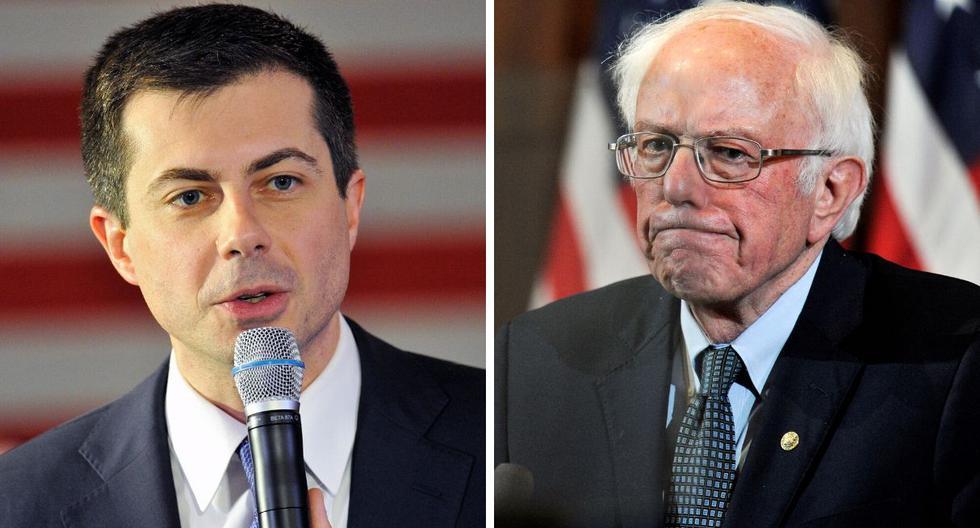 Buttigieg y Sanders se proclamaron vencedores, horas después del resultado. (AFP)