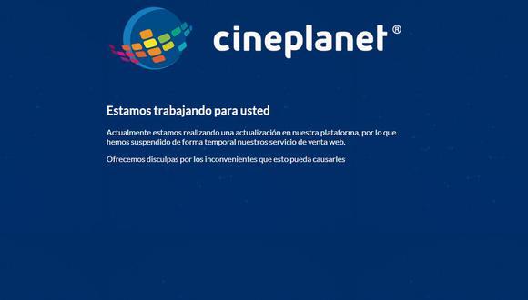 """Así luce la web de Cineplanet horas después del anuncio de la preventa de """"Avengers: Endgame""""."""
