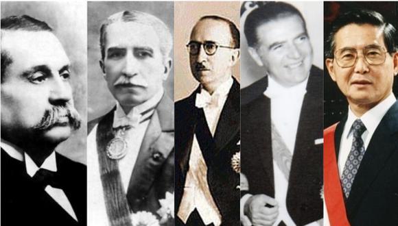 De izquierda a derecha, los expresidentes Guillermo Billinghurst, Augusto B. Leguía, José Luis Bustamante y Rivero, Fernando Belaunde y Alberto Fujimori.