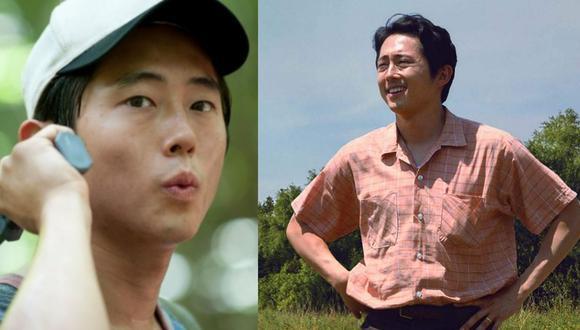 """A la izquierda, Steven Yeun como Glenn en la serie """"The Walking Dead"""". A la derecha, como Jacob Yi en """"Minari""""; por la cual ha sido nominado como Mejor actor en el Oscar 2021. Fotos: AMC/ A24."""