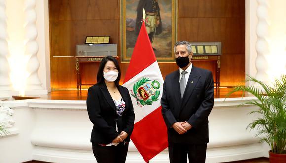 Presidente Francisco Sagasti se reunió, en Palacio de Gobierno, con Keiko Fujimori, lideresa de Fuerza Popular (Foto: Presidencia)