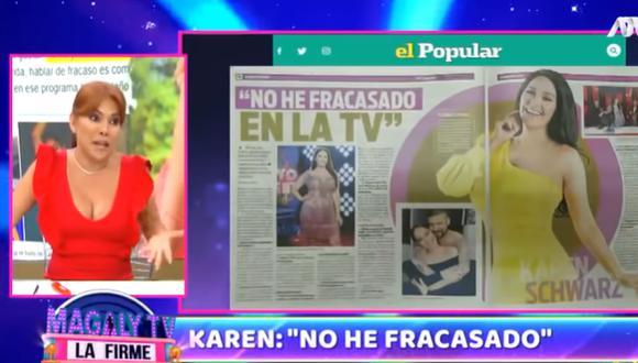 """Magaly Medina a Karen Schwarz por decir que no fracasó en la televisión: """"Está de arrimada en Yo Soy"""". (Foto: captura de video)"""