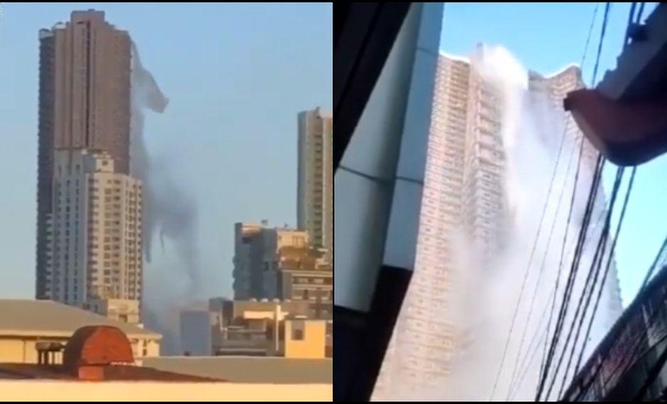 Terremoto en Filipinas: el aterrador momento en que se quiebra la piscina de un rascacielos. Fotos: Captura de videos