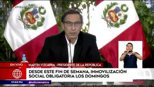 Martín Vizcarra anuncia el regreso de la inmovilización social obligatoria los domingos