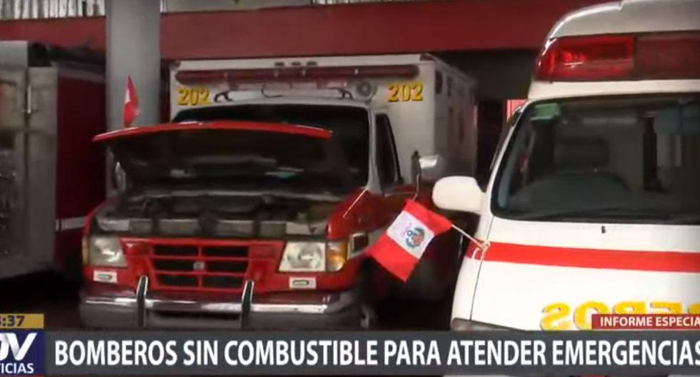 Debido a la falta de gasolina sus vehículos tienen dificultades para atender las emergencias (Captura de video)