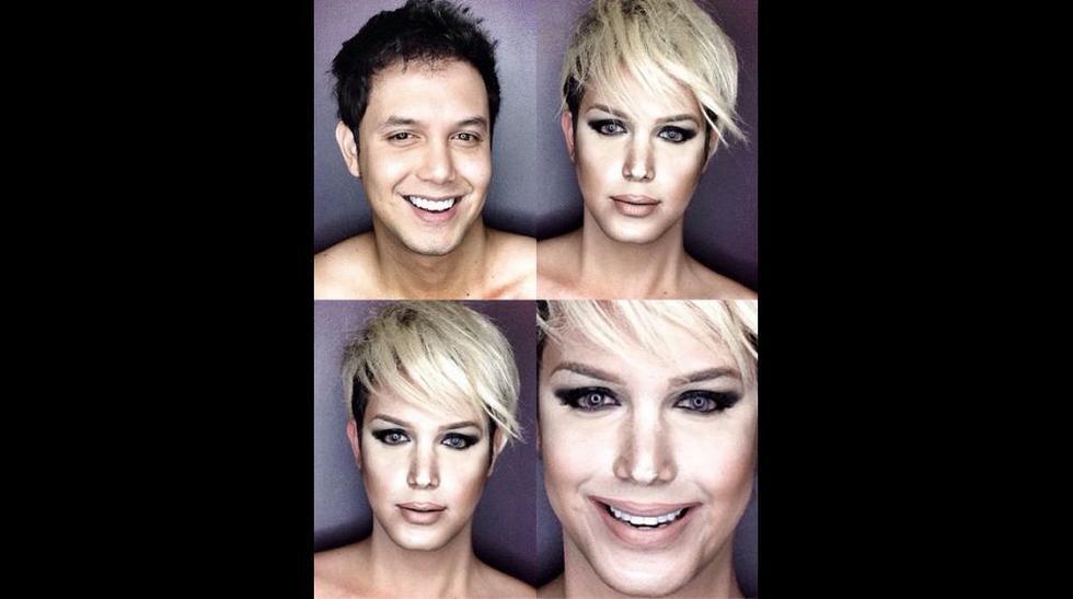 Hombre se 'transforma' en celebridades con maquillaje - 1