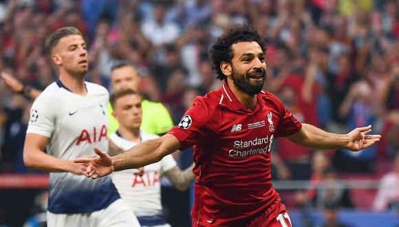 Salah marcó de penal el gol que clasificó a su país al Mundial luego de 28 años y con el Liverpool uno en la victoria que le dio la Champions al equipo de Klopp. (Foto: AFP)