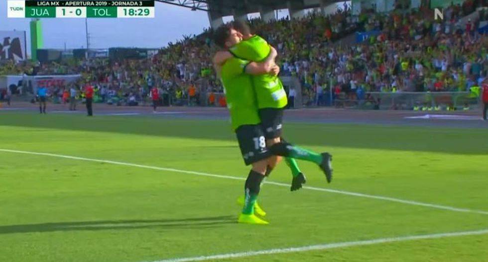 El delantero argentino Mauro Fernández entró a la historia grande de Juárez FC, tras anotar en el choque ante Toluca por la tercera fecha del Apertura mexicano. (Foto: captura de video)