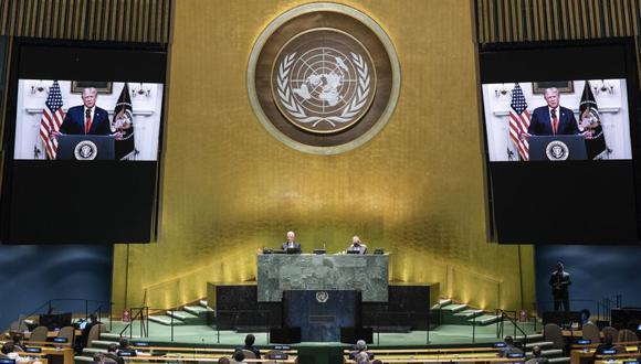 """Donald Trump pide en la ONU que """"se responsabilice"""" a China por la pandemia de coronavirus. (Foto: Eskinder DEBEBE / UNITED NATIONS / AFP)."""