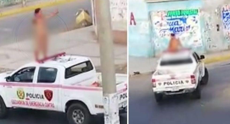 Chimbote: Mujer desnuda se sube a techo de patrullero y dice que está infectada con Covid-19
