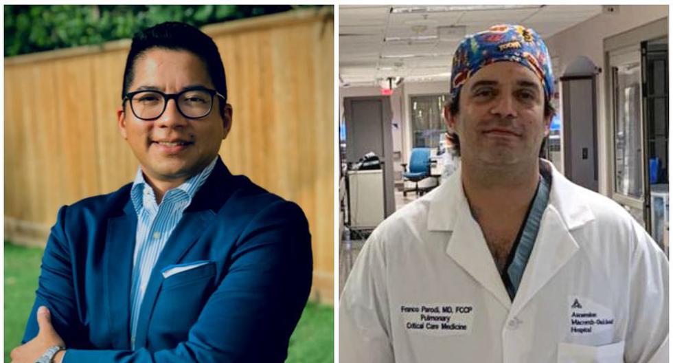 Luis Chug, de 42 años, y Franco Parodi, de 41, son especialistas en neumología y cuidados intensivos. Estudiaron Medicina juntos en el Perú y ahora ayudan al Perú a combatir el coronavirus COVID-19. (Foto: Cortesía para El Comercio)