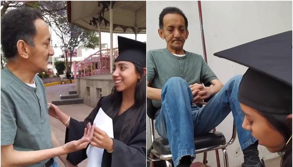 El conmovedor homenaje de una joven graduada a su padre que lustra zapatos. (Foto: Platano / Facebook)