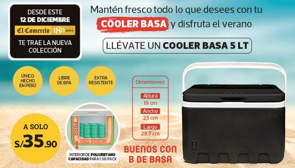 Un Cooler Basa de 5 litros ideal para llevarlo donde quieras playa, camping o piscina y conservar tus bebidas y alimentos. Ademas con el respaldo de la marca BASA.