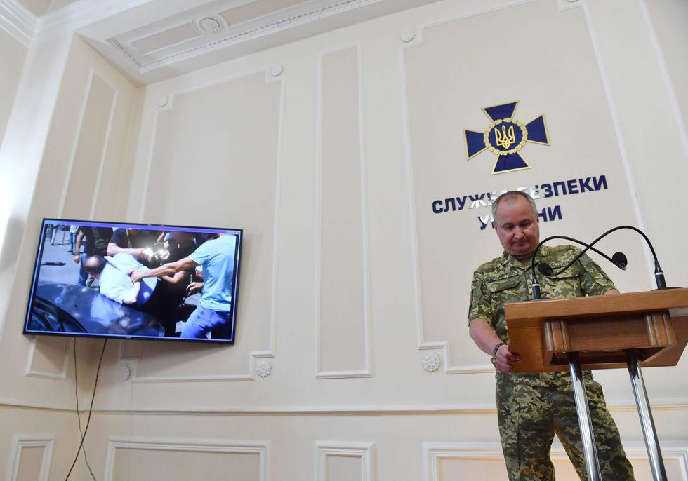 Vasyl Grytsak, director del servicio secreto de Ucrania, informó sobre la detención del hombre que planeaba asesinar al periodista. (AFP).