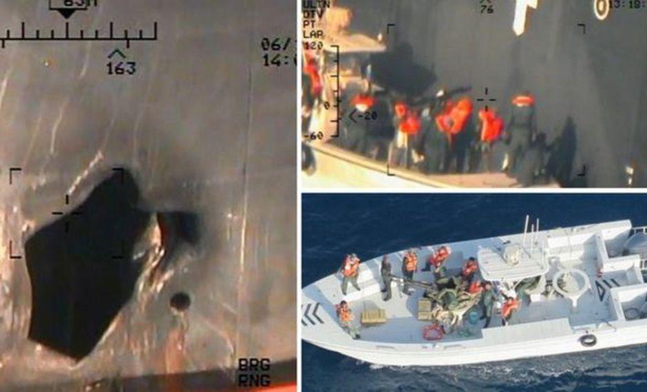 Estas son algunas de las imágenes reveladas por Estados Unidos para probar la responsabilidad de Irán en el ataque de dos buques petroleros en el estrecho de Ormuz.(Foto: US DEPARTMENT OF DEFENSE)