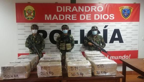 Este el cargamento de la droga luego de haber sido deslacrado. (Foto: PNP)