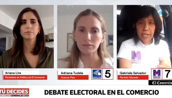#TúDecides Candidatas al Congreso Adriana Tudela (Avanza País) y Grabiela Salvador (Partido Morado) debaten en El Comercio