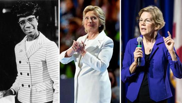 Mujeres del Partido Demócrata que han querido llegar a la Casa Blanca a lo largo de la historia: (de izquierda a derecha) Shirley Chisholm, Hillary Clinton, Elizabeth Warren. (Foto: Getty Images)