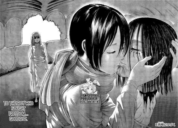 Mikasa besa a Eren al final del capítulo 138 y matarlo también libera finalmente a Ymir (Foto: Kodansha)
