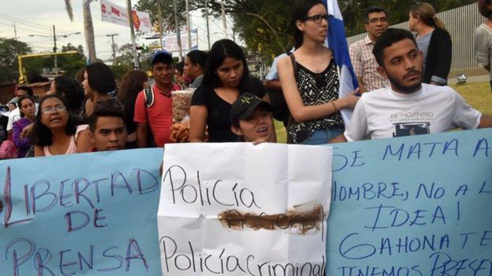 Las demandas por una mayor libertad de prensa y de expresión han sido una constante de las protestas en Nicaragua.