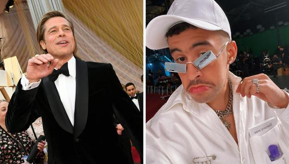 """Brad Pitt y Bad Bunny participarán en una cinta adaptada de una novela japonesa llamada """"Maria Beetle"""". (Foto: Instagram @badbunnypr / AFP Valerie Macon)."""