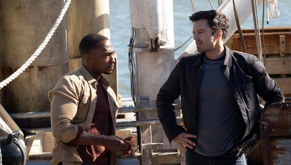 """""""Falcon y el Soldado del Invierno"""". Sam Wilson (Anthony Mackie ) y Bucky Barnes (Sebastian Stan) en una escena de próxima aparición. Foto: Marvel Studios/ Disney+."""