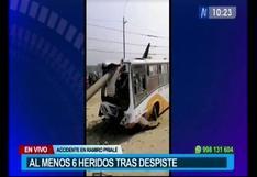 Huachipa: accidente de bus en la autopista Ramiro Prialé deja al menos seis pasajeros heridos