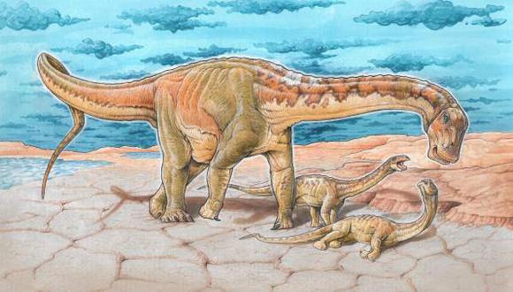 Reconstrucción de un Lavocatisaurus con su cría (Imagen: Smithsonian/GABRIEL LIO