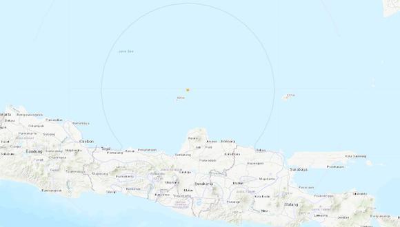 Potente sismo de magnitud 6,6 sacude la costa de Indonesia. (USGS).