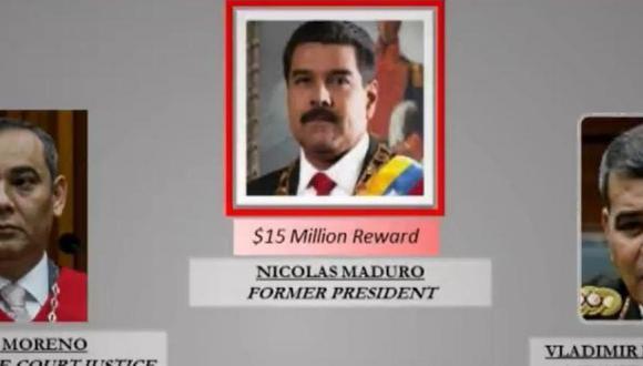 Este es el cartel de recompensas que EE. UU. ofrece por Nicolás Maduro y su círculo más cercano. (Foto: Gobierno de EE.UU.)