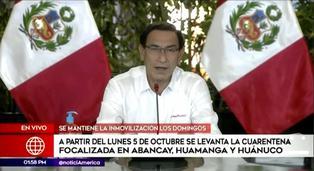 Cuarentena focalizada se levantará en Abancay, Huamanga y Huánuco desde el 5 de octubre